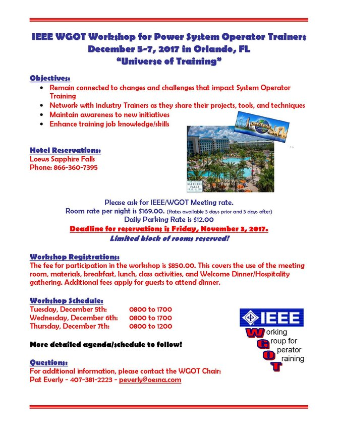 IEEE WGOT Workshop - December 5-7, 2017, Orlando, FL