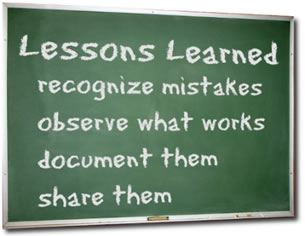 image_Lessons Learned: recognize mistakes, observe what works, document them, share them